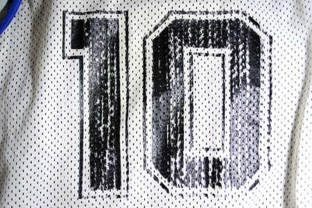 close up of an old basketall jersey number ten
