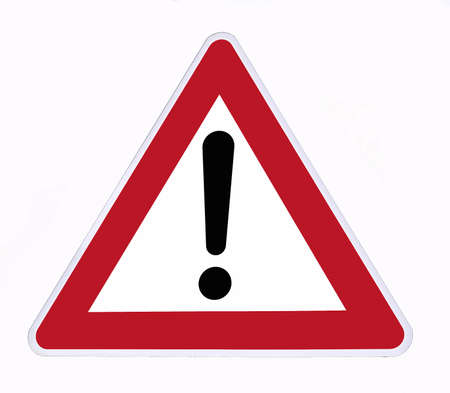 attention sign: danger signal on a white background Stock Photo