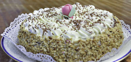 chantilly: close up of a chantilly cake with a decorative flower