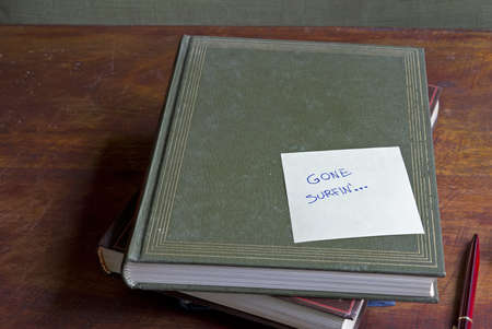 gone: gone surfing written on a pile of boring books