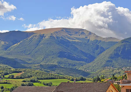 panorama with hills in Marche, italy