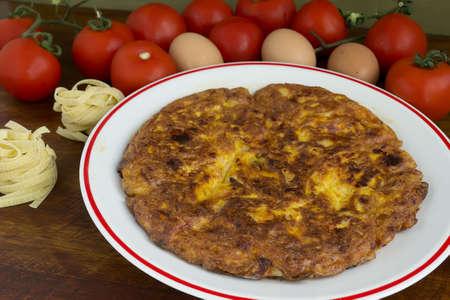 pasta omelette made with taglaitelle Stock Photo