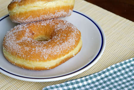 two donuts on a ceramic plate Stock Photo - 11296654