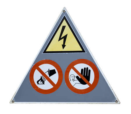 trepassing: danger and attention sign on white background