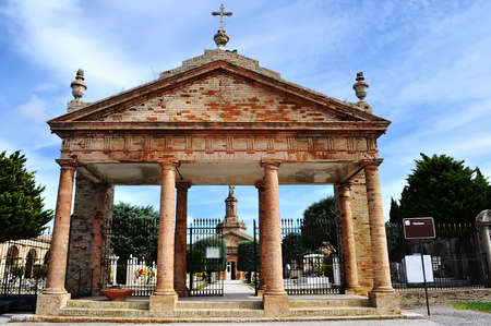 cemetery gate in Monterrubiano, italy photo