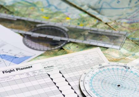 flight planner and other tools Stock Photo