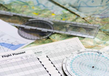 flight planner and other tools Foto de archivo