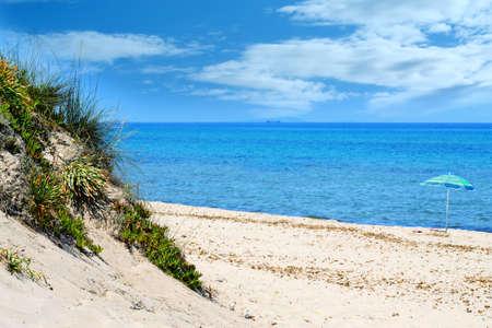 foreshore: beach umbrella very close to the foreshore in Platamona