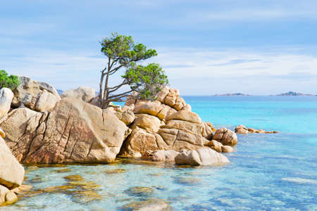 detail of Capriccioli beach in Costa Smeralda, Sardinia