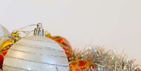 closeup of a Christmas ball in silver color with other decorations Stock Photo - 16452088