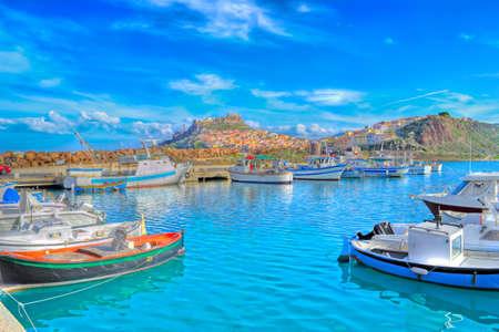 uitzicht op de haven van Castelsardo in hdr toning Stockfoto