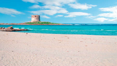 Aragonese tower seen from the beach in La Pelosa, Stintino Stock Photo - 18202050