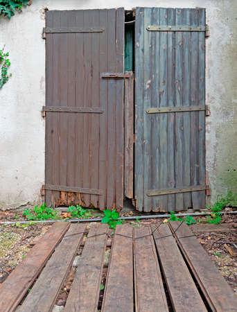old wooden door in a rustic corner Stock Photo - 18917281