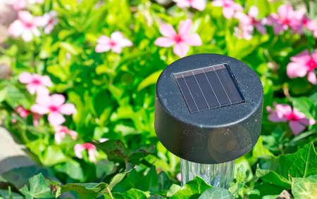 small solar garden light in a flower bed