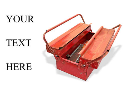 text tool: old tool box on white with your text here writing