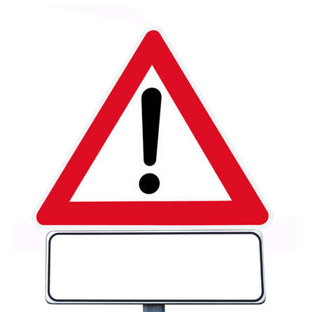warning sign and supplementary sign  Stock Photo