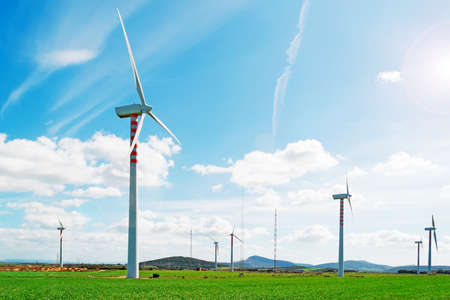 energy production: windpower installation in Sardinia countryside