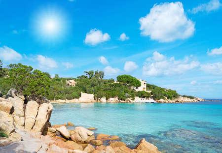 Capriccioli beach in Costa Smeralda, Sardinia 免版税图像
