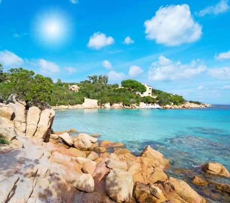 Capriccioli beach in Costa Smeralda, Sardinia 스톡 콘텐츠