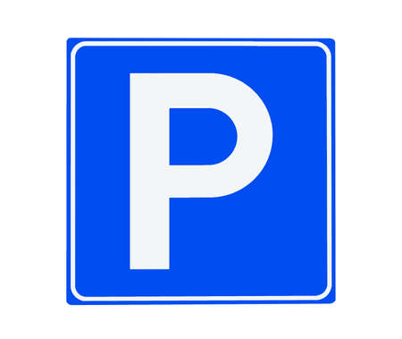 detail of a blue parking sign on white background Stock Photo