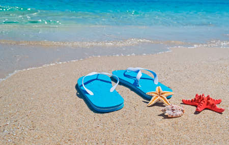 shell, starfish and flip-flops on the foreshore Stock Photo