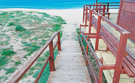 foot path: wooden foot path to the beach Stock Photo