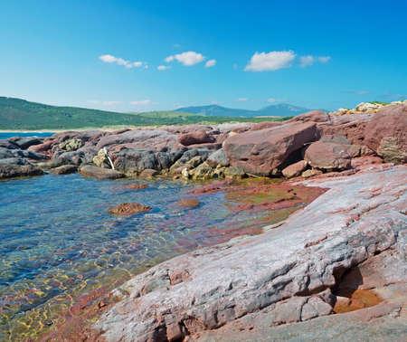 ferro: detail of Porto Ferro rocky shore Stock Photo