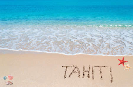 turquoise water and golden sand with shells, sea stars and tahiti written on it Stock Photo