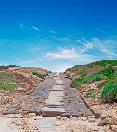 ���archeological site���: old road in Tharros archeological site Stock Photo