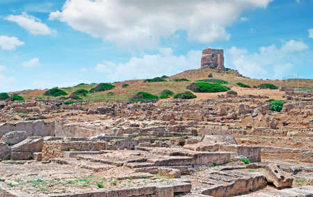 phoenicians: San Giovanni tower over Tharros ruins Stock Photo