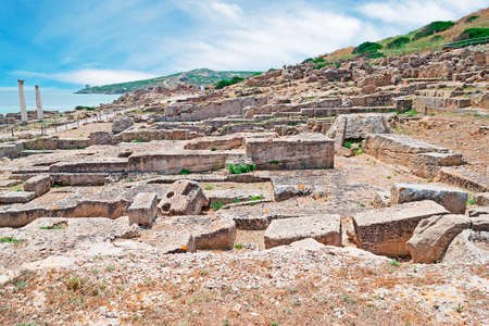 phoenicians: Tharros ruins by Sardinia turquoise sea