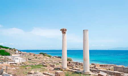 ancient columns by Tharros sea