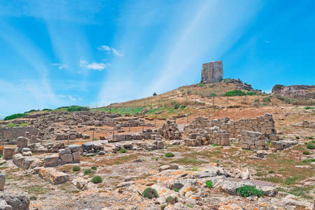 phoenicians: San Giovanni tower seen from Tharros archeological site