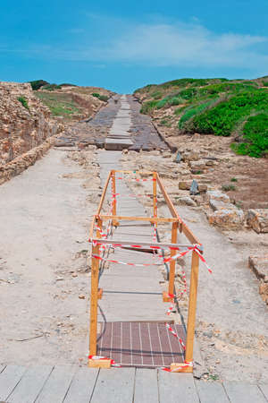 archeological site: work in progress in Tharros archeological site Stock Photo