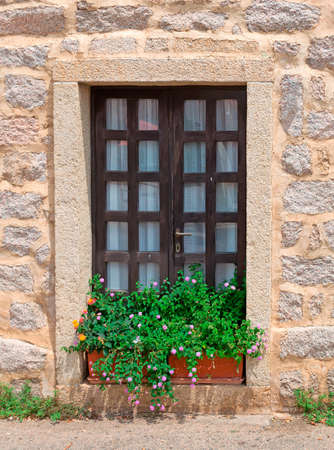 window with flowers on the sill photo