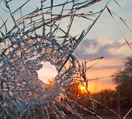 broken glass at sunset Stock Photo - 22922133