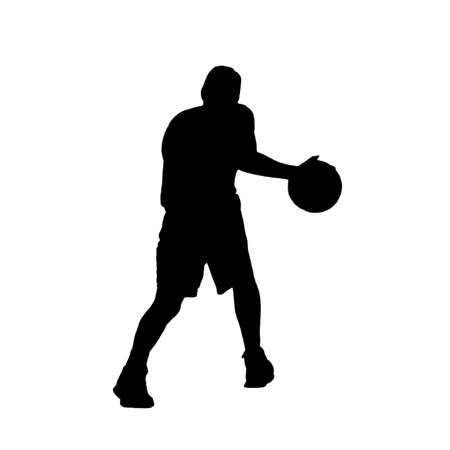 dribbling: silhouette of a basketball player dribbling on white background