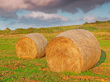 hay bales under a dramatic sky photo