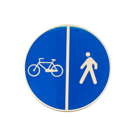 bike lane and pedestrian walkway sign on white background photo