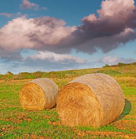 hay bales under a dramatic sky