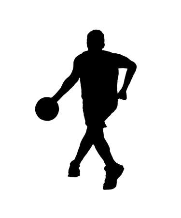 dribbling: basketball player silhouette dribbling on white background