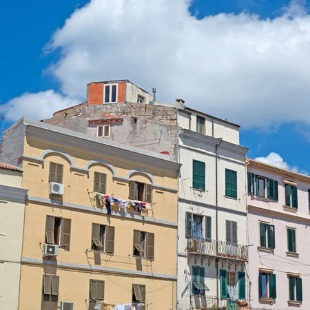 typical italian buildings on a cloudy day photo