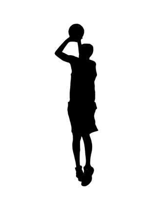 basketball player silhouette shooting on white background