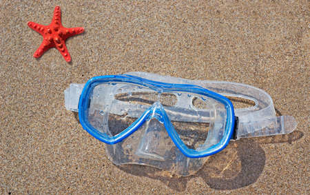 diving mask and starfish on the sand photo
