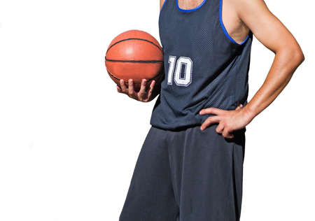 baketball player holding the ball on white background photo