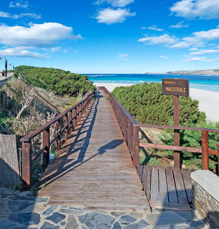 wooden walk path to La Pelosa beach photo