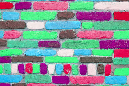 wall made with colorful bricks photo