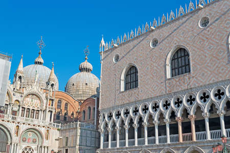 glimpse: ducal palace and San Marco cathedral in Venice, Italy Stock Photo