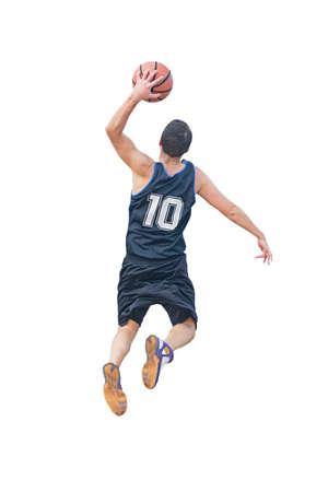 left hand dunk isolated on white background Stock Photo