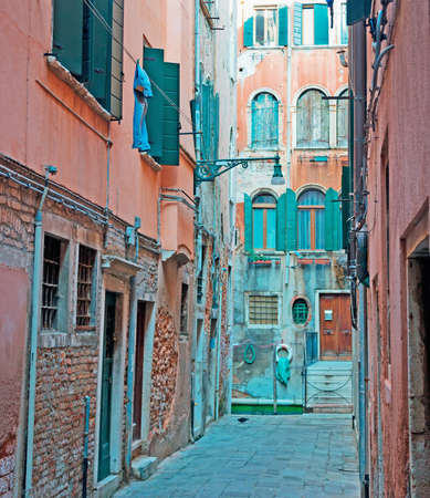 backstreet: narrow backstreet in Venice, Italy Stock Photo